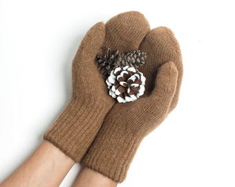Pure camel wool mittens for adults - brown