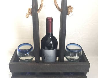 Rustic wine bottle and glass carrier