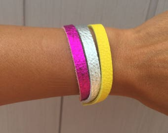 Statement Bracelet for Women, Statement Jewelry, Hot Pink, Silver and Yellow Leather Wrap Bracelet,Leather Wrap Bracelet, Boho Bracelet