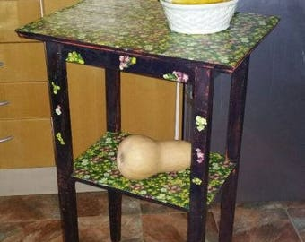 Vintage shabby chic side table with shelf