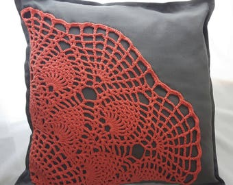 Cushion cover with crochet applique