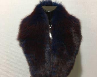 Genuine Real  Red-blue Fox Fur Collar