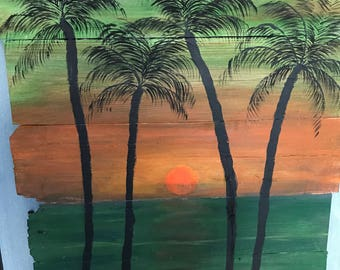 Wood art sunset with palm trees