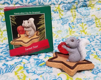 Hallmark 1988 Sweet Star squirrel cookie and cherry clip on ornament Vintage