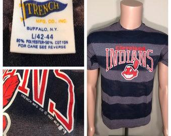 Custom Vintage 1987 Cleveland Indians shirt // faded distressed // acid washed tee // big chief wahoo logo // 80s cool shirt // Adult medium