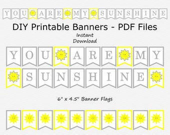 You Are My Sunshine Banner - Primary Yellow & Grey - Baby Shower - Sun - DIY Printable - INSTANT DOWNLOAD