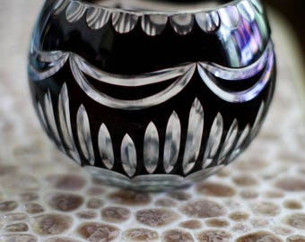 Vintage Bohemian Crystal Black Cut To Clear Orb Bowl