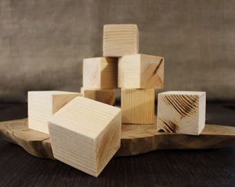 Pine Wooden Blocks, Unfinished Cubes, Tree Centerpieces, DIY Set, Wooden cubes, Friendly Natural Toys, Building Blocks, Waldorf Constructor