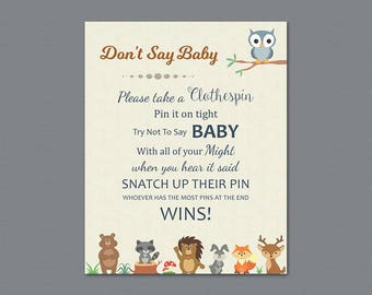 Don't Say Baby Games Printable, Dont Say Baby Sign, Woodland Theme, Forest Animals Baby Shower, Bear, Deer, Clothespin Game Download, SBS9