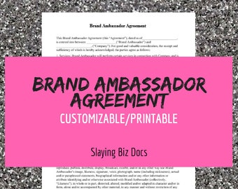 Brand Ambassador Agreement | Easy To Customize | Instant Download