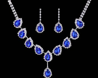 Rhinestone, Blue Crystal, CZ necklace set, wedding bridal jewelry set costume