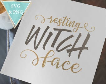Resting Witch Face Halloween Cut File SVG PNG