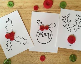 Christmas Button Notecards