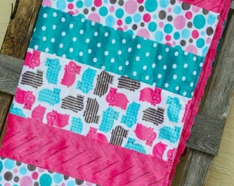 Cotton Candy Hippos Child Size Minky Blanket