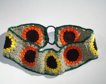 Sunflower Crochet Headband, Women's Boho Headband, Hippie Headband, Boho Hair Accessories, Boho Gift, Granny Square Headband, hippie gift