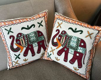 Handmade Elephant Cushion Cover