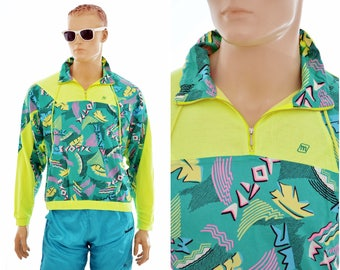 80s/90s neon Jumper / sweater 'Exotic' by Maser / size mens S or womens L / vintage clothing sweatshirt / Austria