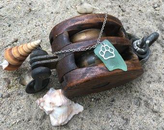Light green beach glass necklace