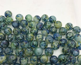 Tie Dye Blue Glass Spacer Beads, Blue Round Glass Beads, Two-tone Loose Spacer Beads, Glass Spacer Beads, USA Seller, 10 pcs, 10mm