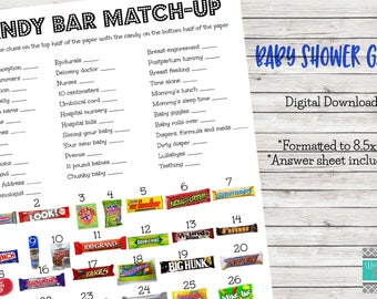 Baby Shower Game, Candy Bar Match Up - Printable