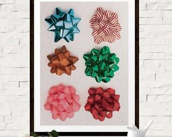 Festive Christmas Home Decor - Christmas Bow Art Print - Xmas Wall Decor - Winter Holiday Art Print - Digital Christmas Art - Printable Art