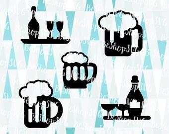 Beer SVG, Beer Icons SVG, Drinks SVG, Beer Mug SvG, Cheers Svg, Party drinks Svg, Instant download, Eps - Dxf - Png - Svg