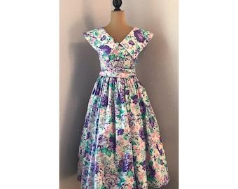 50s style vintage 80s Eber San Francisco Floral Dress