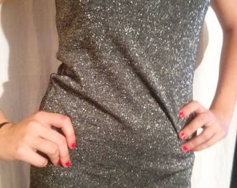 Silver color lurex and viscose tunic tank top