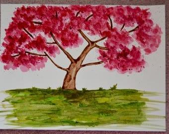 Watercolour Sakura/Cherry blossom tree painting