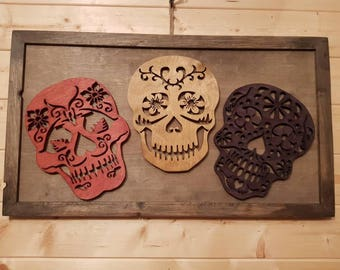 3 skulls wooden wall decor wooden present picture