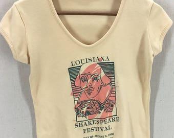 Women's Vintage 80s William Shakespeare Festival T-Shirt~New Orleans USA~Sz L