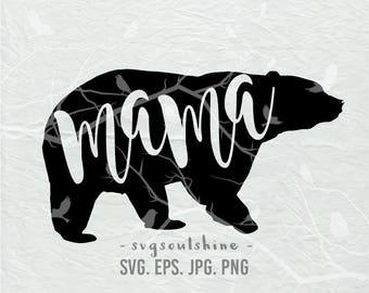 Mama Bear SVG File Mommy Mom Bear Silhouette Cut File Cricut Clipart Print Design Template Vinyl  sticker transfer Shirt Design Mother's day