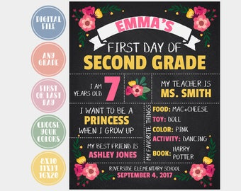 Back to School Printable, First Day of School Sign, Last Day Of School Sign, Digital Chalk Board Sign, 1st Day of School, Digital File