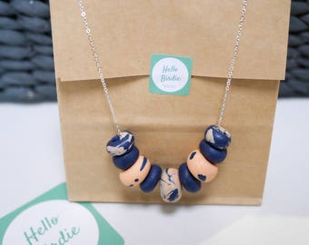 Polymer Clay Beaded Necklace - Navy & Peach Marble
