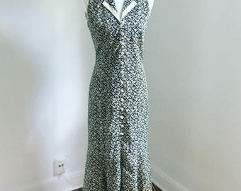 Beige and Black Sleeveless Floral Button Down Maxi Dress with Collar