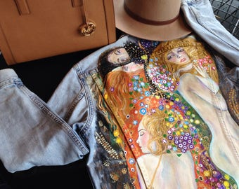 Hand painted denim jacket with Gustav Klimt Water Snakes ll . (! price just for painting !)