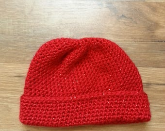 Newborn crocheted sparkly red hat