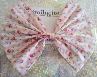 Large Handmade Fabric Hair Bow on a Crocodile Clip