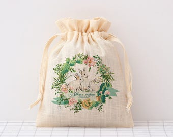 custom small Baby Shower favor Bag rabbit Logo bags personalized cotton fabric drawstring pouch custom seed packet party favor bags