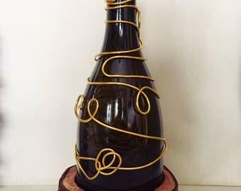 Lampada Bottiglia e Fil di Ferro oro - Lamp Chandelier Bottle Gold