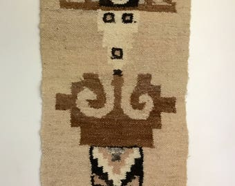 African Tribal or Native American Woven Wool Symbolic Rug