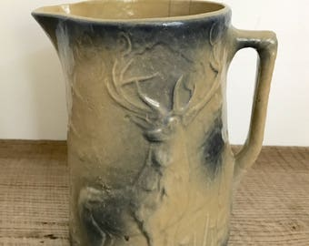 Vintage Deer Glazed Pottery Pitcher