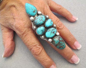 """Xtra Large 6 Stone Navajo Handcrafted Turquoise & Sterling Ring> Assorted Genuine Turquoise> 3 1/8"""" long!!> Gorgeous Shades of Blue!"""
