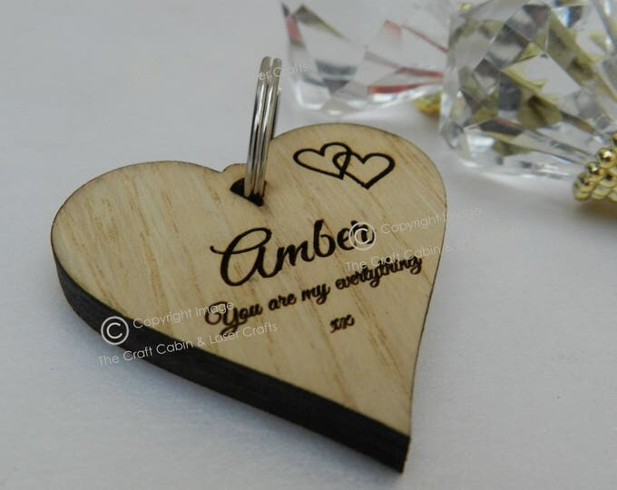 Personalised Wooden Heart Key Ring. Valentines Day Gift. Wedding Gift Idea, Anniversary Gift