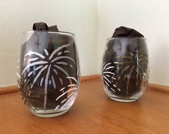 Firework Hand Painted Wine Glasses