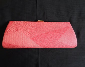 Intricate Patterned Long Red Kimono Clutch