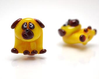glass dog pendant chinese new year 2018 year of the dog handmade lampwork dog pug gift pug earrings yellow dog brown dog lampwork pug
