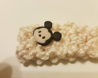Baby Crochet Head Band With Mouse Button