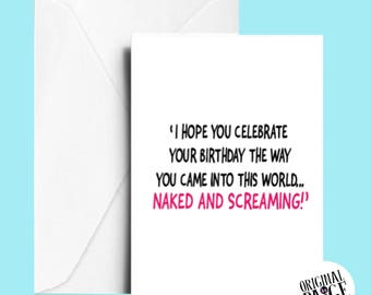 Naked and screaming birthday card