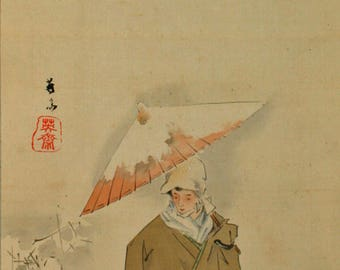 Japanese painting of a man in snow
